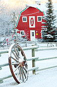An old red barn and wagon wheel on the prairie. Winter scenic. Alberta, Canada. Rustic wooden wheel leaning up against a fence with classic red barn in background. Fresh snow has just fallen adding to the scene. Nobody is in the image, taken on a beautiful farm in the Okotoks region of southern Alberta, Canada. Cold January morning!