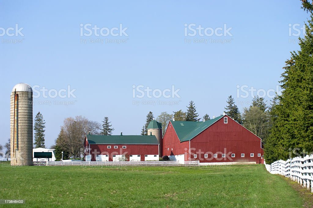 Red Barn and White Fence stock photo