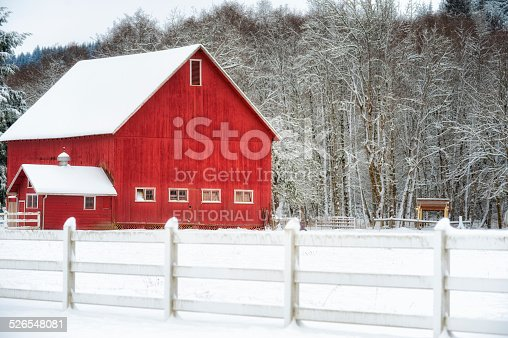 Red Barn And White Fenced Barnyard Winter Landscape Stock Photo More Pictures Of Agriculture