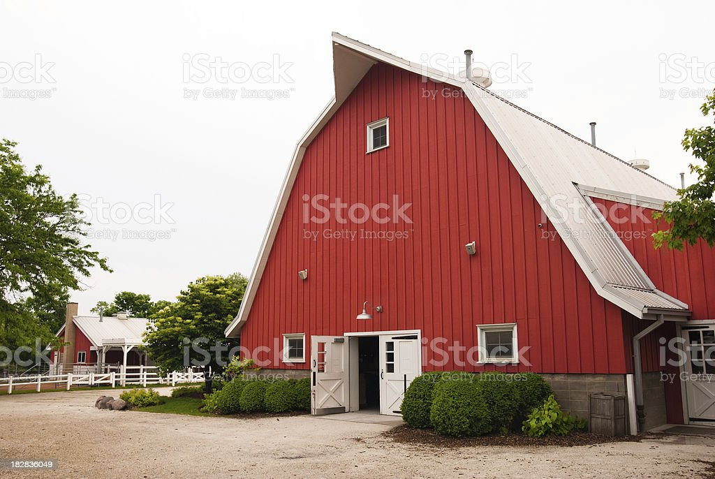 Red Barn at Lincoln Park Zoo in Chicago, IL stock photo