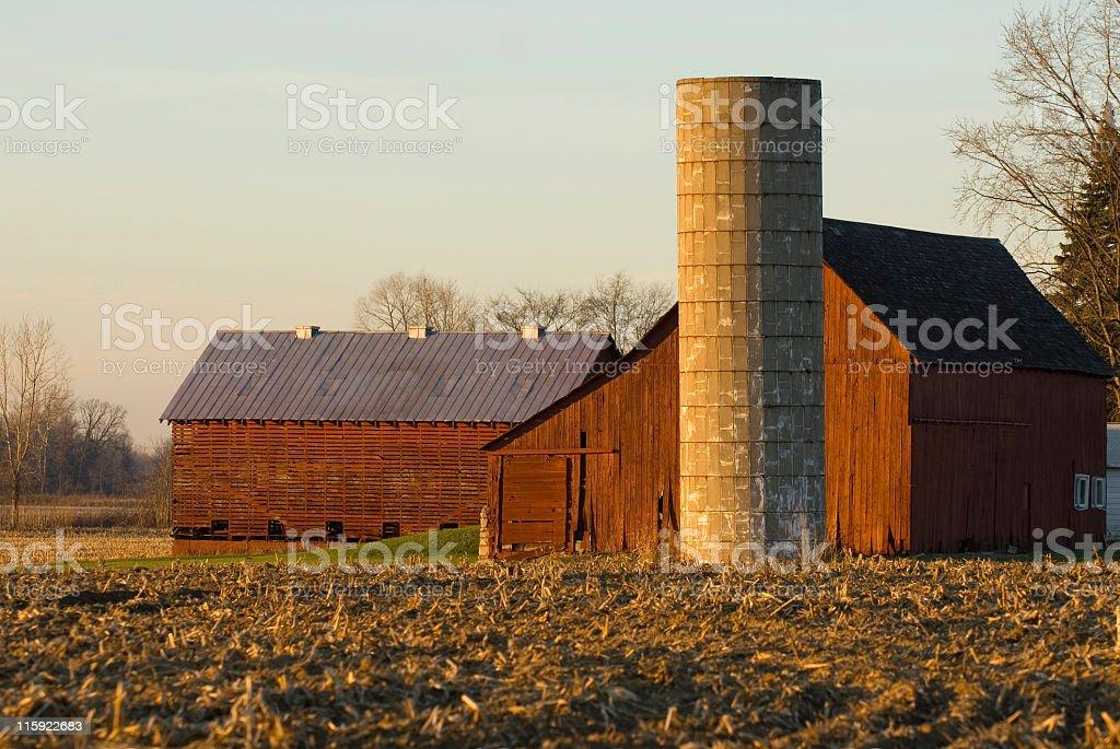 Red Barn at Sundown royalty-free stock photo