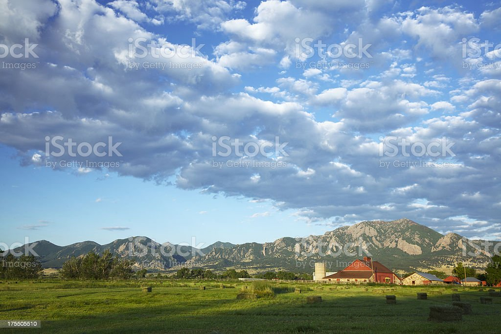 Red Barn at Sunrise stock photo