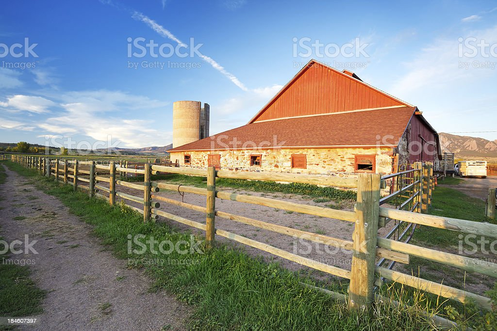 Red Barn at Sunrise royalty-free stock photo