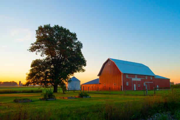 red barn bei sunrise-cass county indiana - agrarbetrieb stock-fotos und bilder