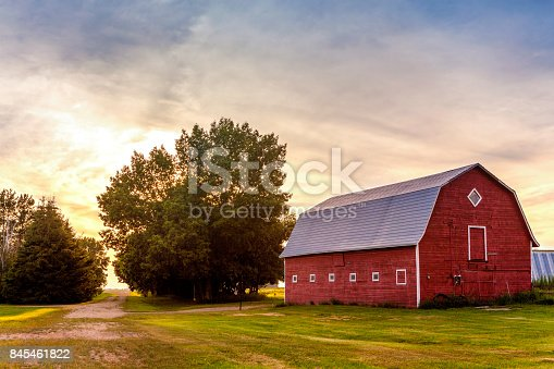 istock Red Barn at Sunset 845461822