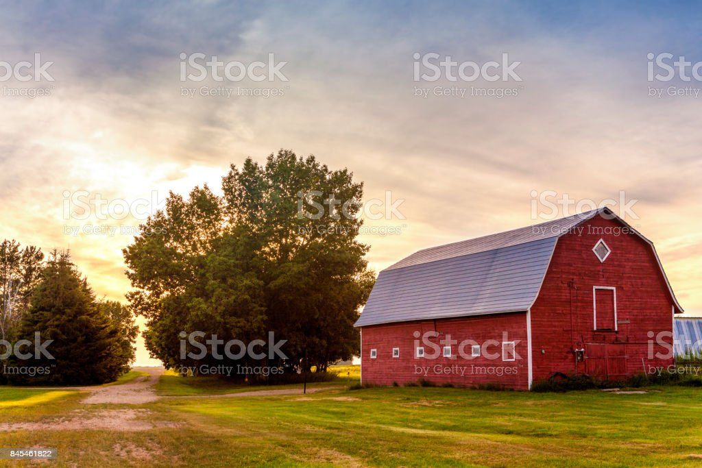 Red Barn at Sunset stock photo