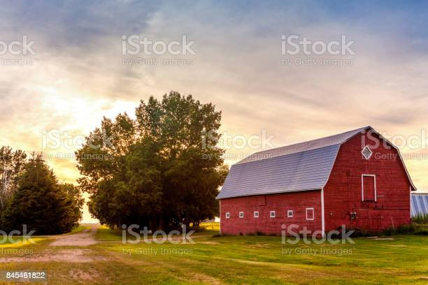 Photo of Red Barn at Sunset