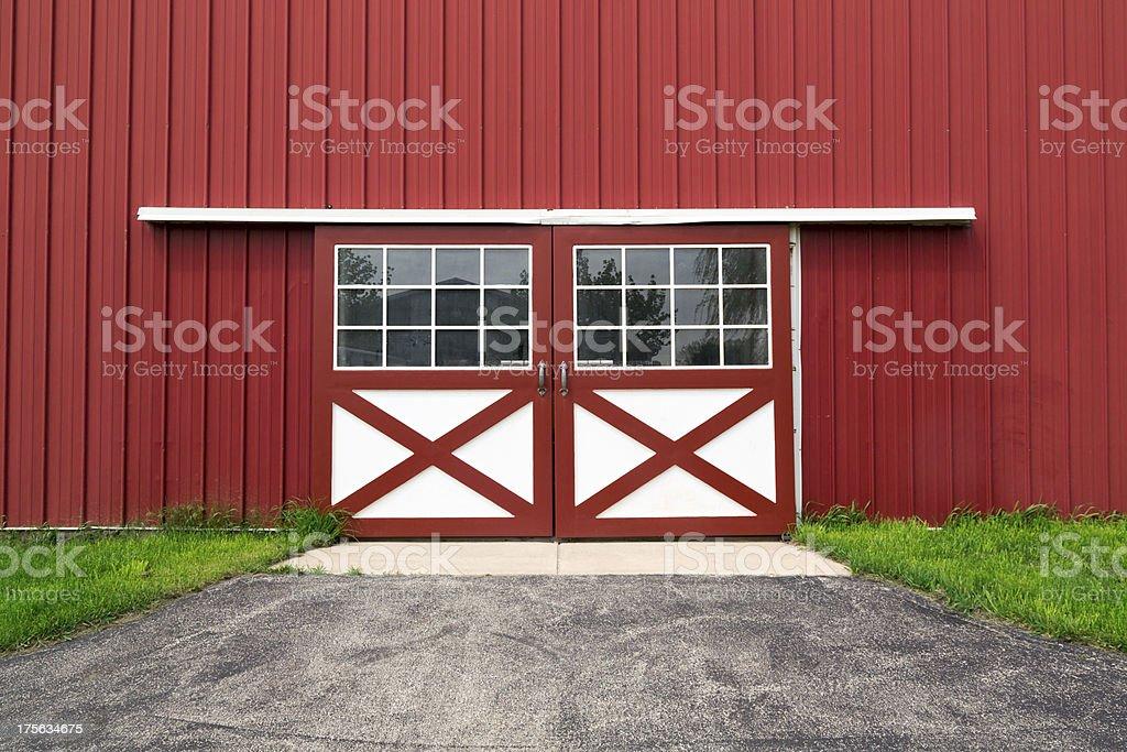 red barn door stock photo