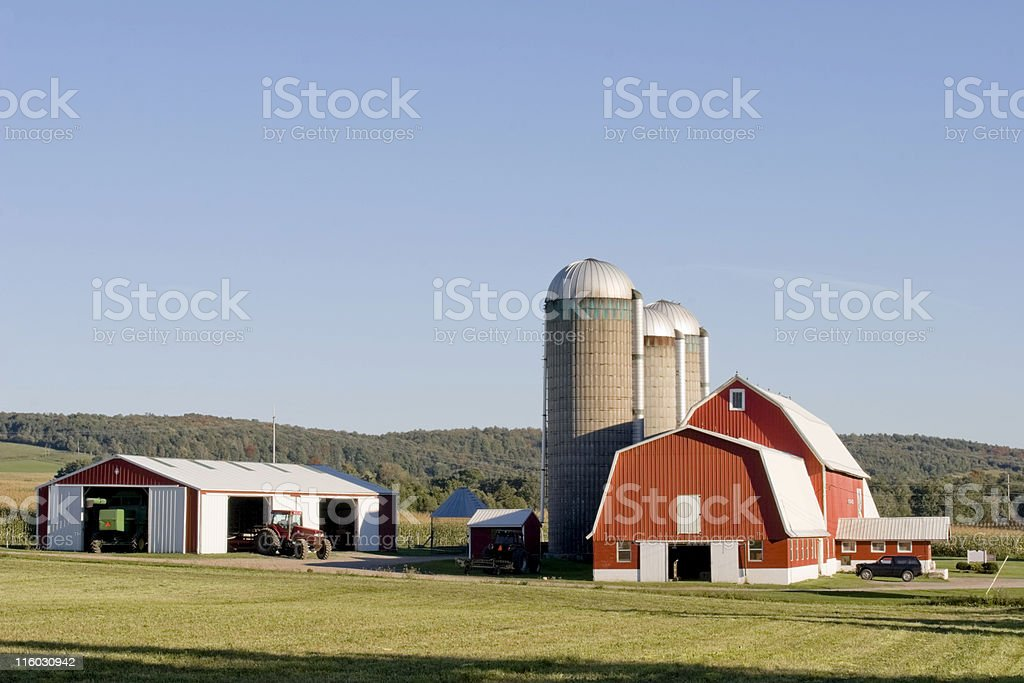 Red Barn - Evening in Late Summer stock photo