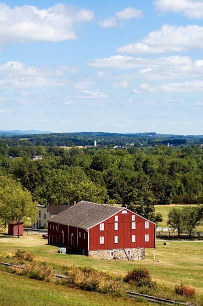 Red Barn Gettysburg Pennsylvania Vertical Centered stock photo