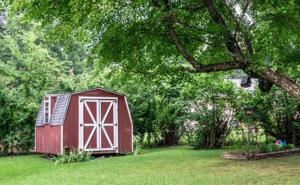 Red barn in backyard Red barn shed/farmhouse in green wooded area in yard. shed stock pictures, royalty-free photos & images