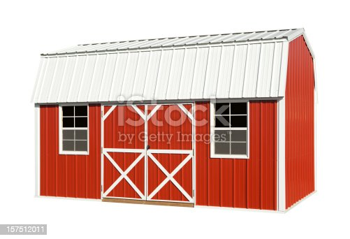 Red barn isolated on white, with clipping path.