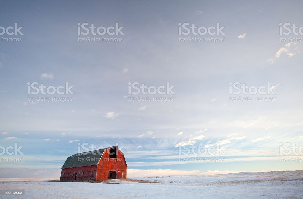 Red Barn on the Prairie stock photo
