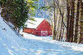 Red barn on the snowy road