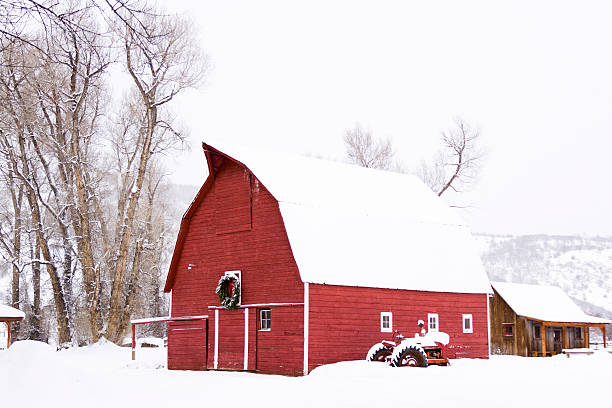 Red barn Red barn in snow on the farm in Colorado. routt county stock pictures, royalty-free photos & images