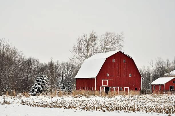 Red Barn Winter Scene stock photo