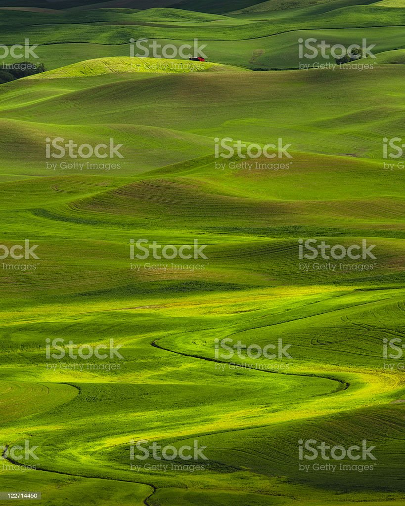 Red Barn with Rolling Hills royalty-free stock photo