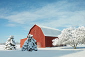 Red Barn With Snow