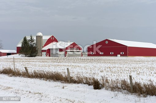 istock Red barns covered in snow on a Winter's Day. 527799497