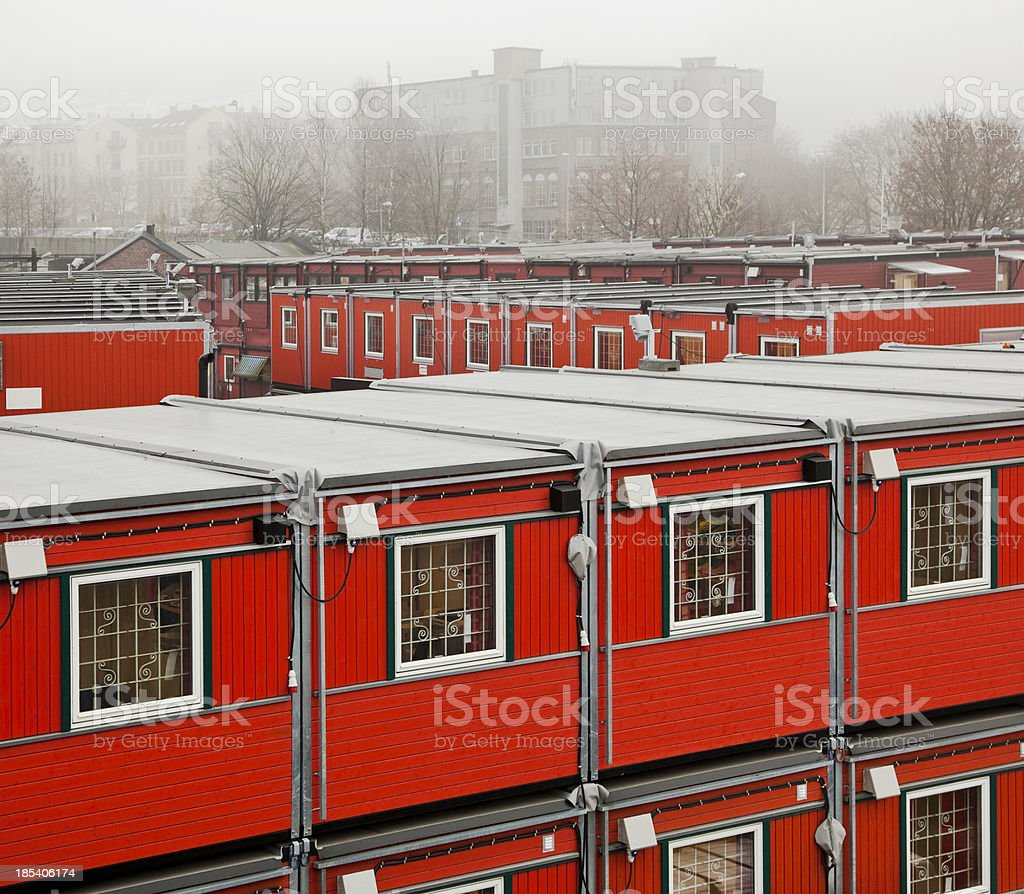 Red barracks in white mist. royalty-free stock photo