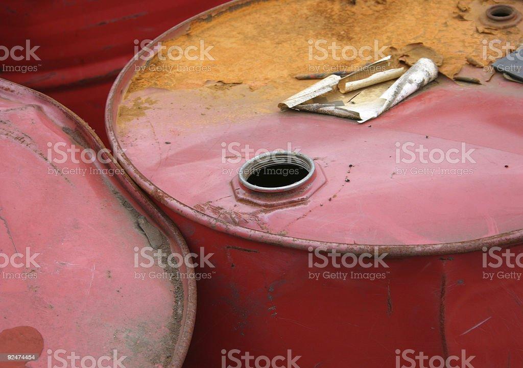 Red barrels stock photo