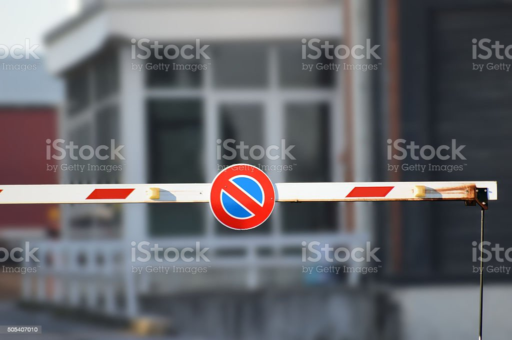 red barrier entry stock photo