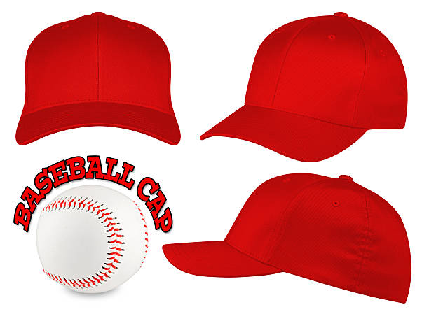 red baseball cap set Set of red baseball caps with baseball baseball cap stock pictures, royalty-free photos & images