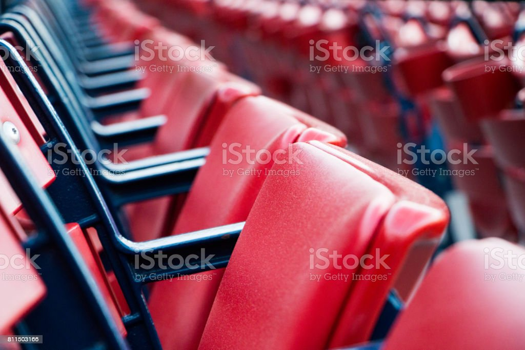 Red Baseball Stadium Seats stock photo