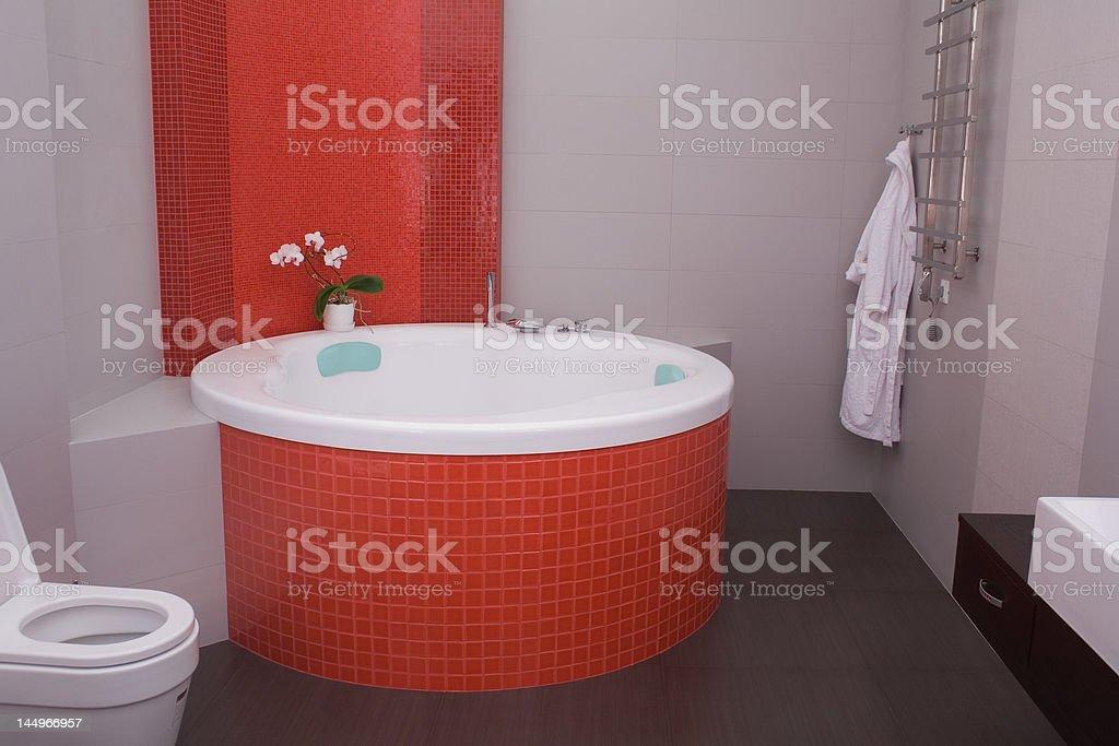 red bathroom stock photo