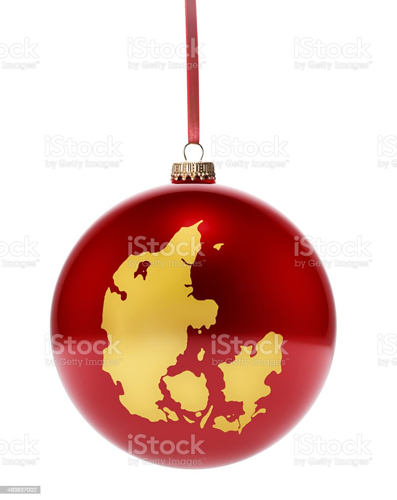Red bauble with the golden shape of Denmark.(series) stock photo