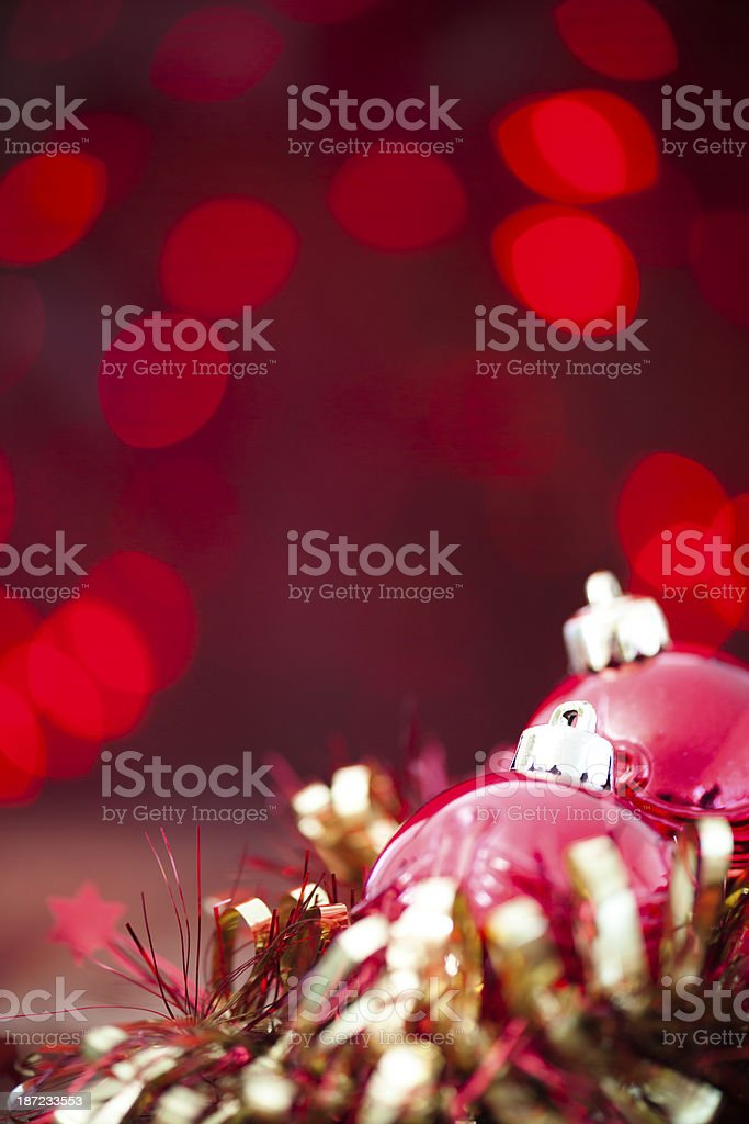 Red Baubles & Gold Tinsel royalty-free stock photo