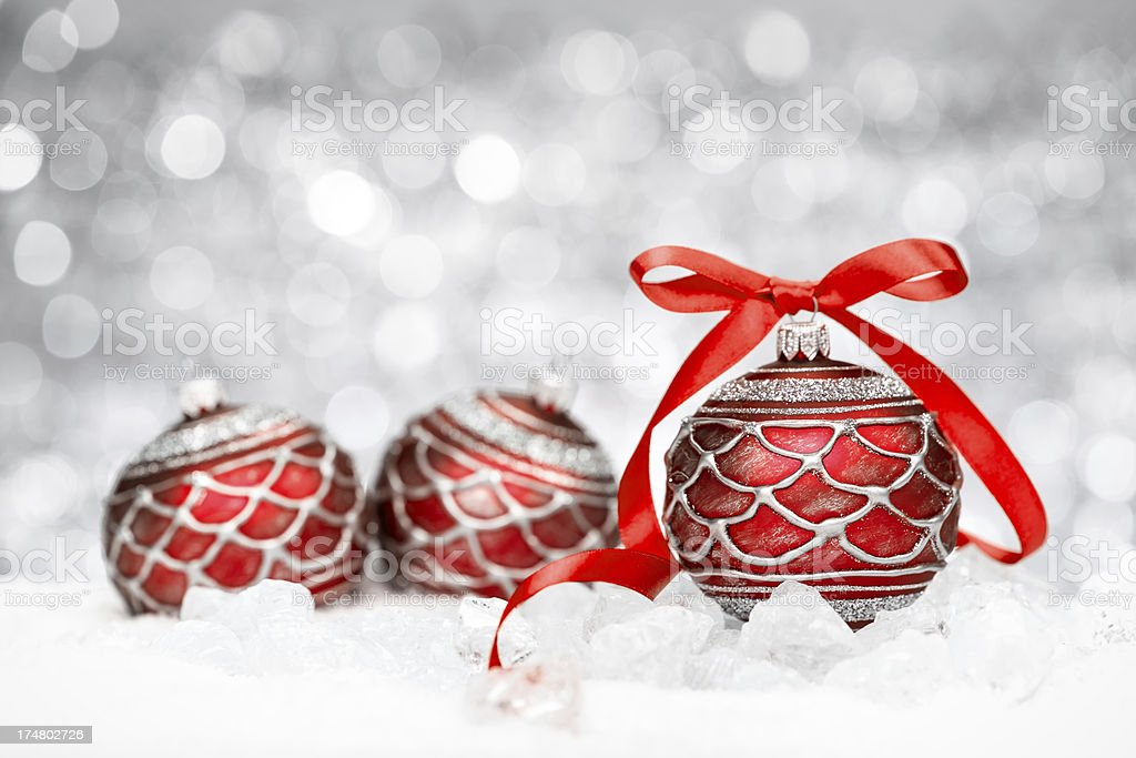 Red Baubles on Ice royalty-free stock photo