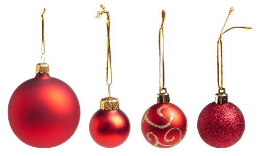 Red baubles collection on white. This file is cleaned, retouched and includes