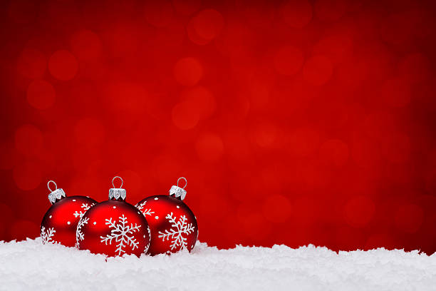 Red baubles with snowflake decoration stock photo