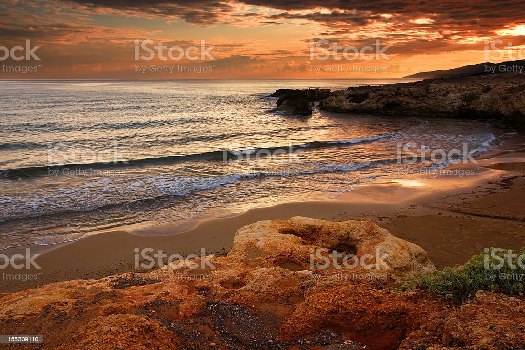 Red bay on sunset royalty-free stock photo
