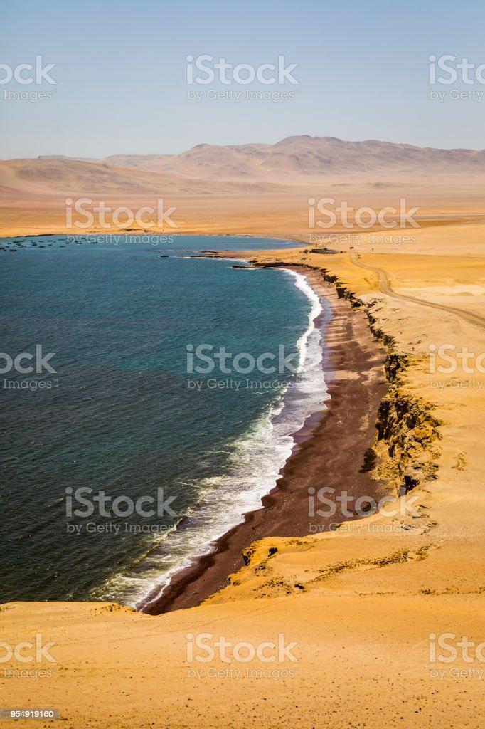 Red beach, Paracas National Reserve. stock photo