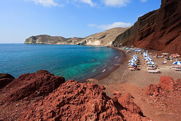 red beach, santorini island, greece - golf sommar skugga bildbanksfoton och bilder