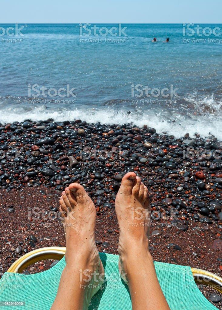 Red beach - Santorini Island - Greece ロイヤリティフリーストックフォト