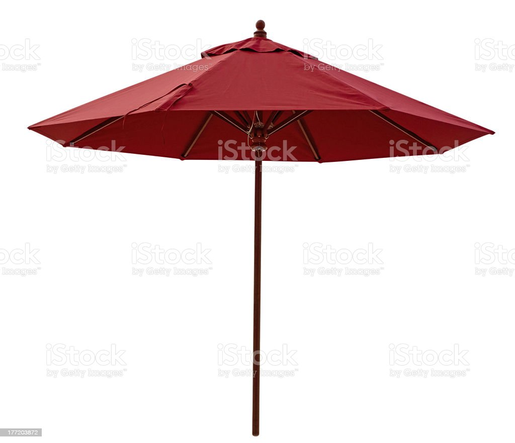 Red beach umbrella stock photo