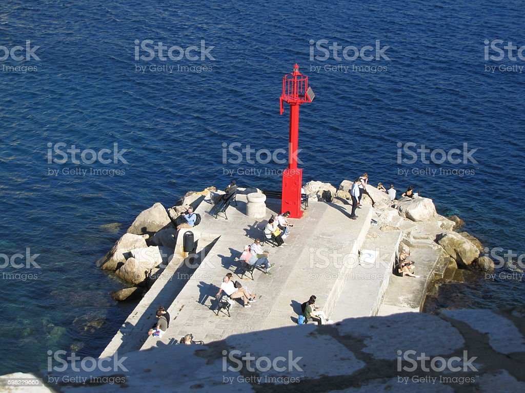 red beacon Dubrovnc foto royalty-free