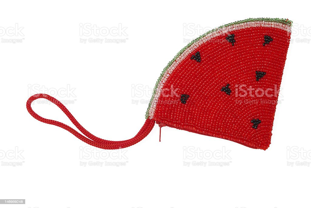 Red bead pouch royalty-free stock photo