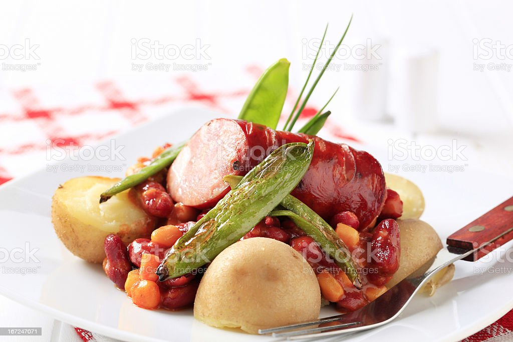Red bean chili with sausage and potatoes royalty-free stock photo