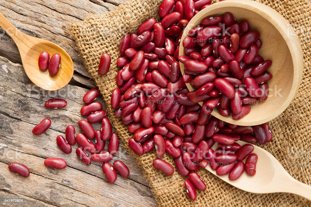 Red bean on rural cookware stock photo