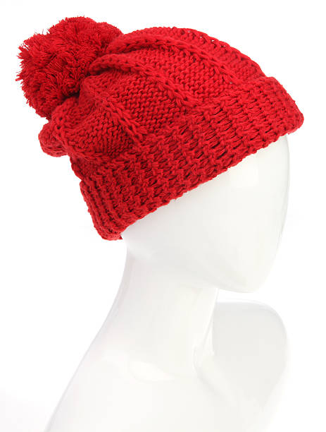 Red Beanie with Pom Pom Pom Pom Red Beanie with Mannequin head on a white background knit hat stock pictures, royalty-free photos & images