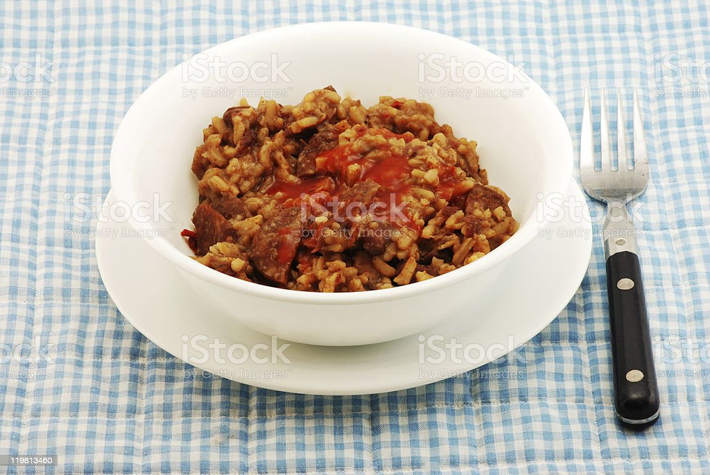 Red Beans and Rice with Sausage stock photo