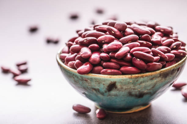 Red beans. Red beans in bowl on table stock photo