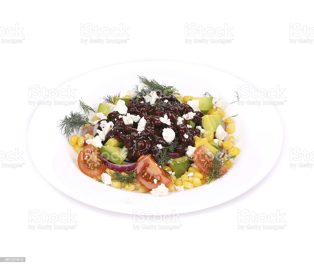Red beans salad with feta cheese. royalty-free stock photo