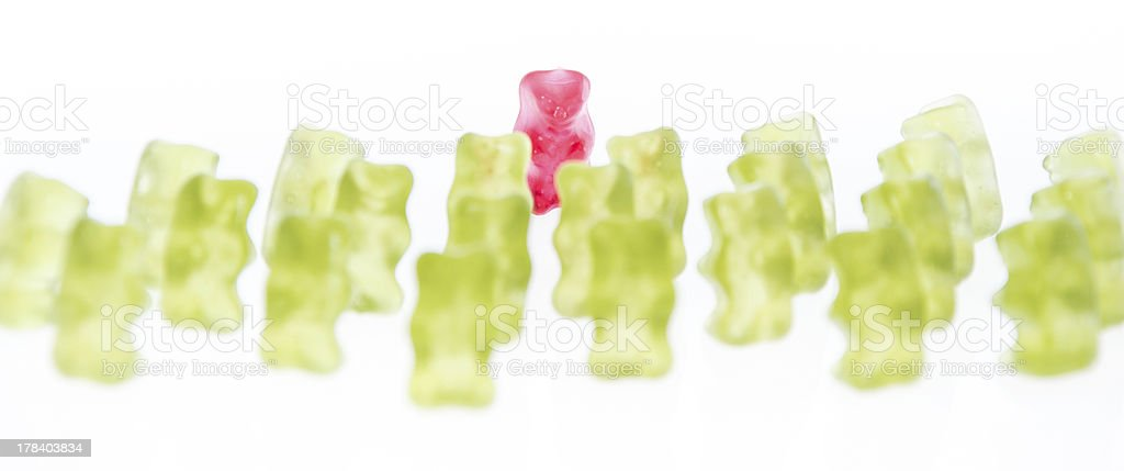 Red Bear in front of green Bears royalty-free stock photo