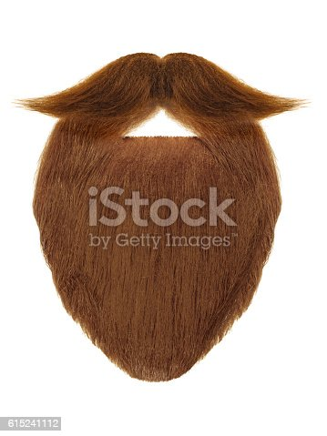 istock Red beard with curly mustache isolated on white 615241112