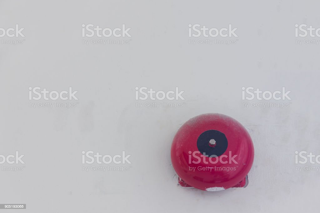 red bell of alarm fire stock photo